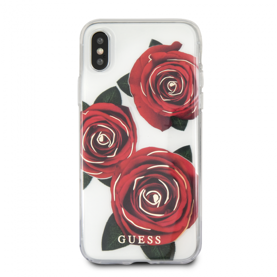 iPhone X Guess Transparent Red Rose Hard