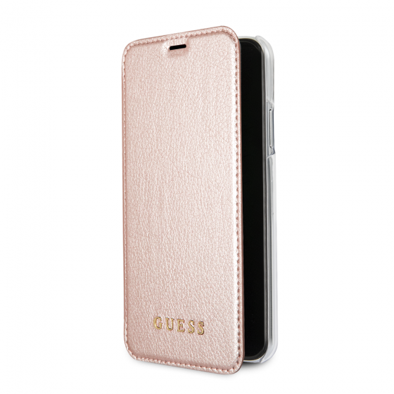 iPhone X Guess Gold Leather Book Style Case