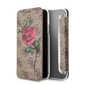 iPhone X Guess 4G Flower Desire Book Case Brown